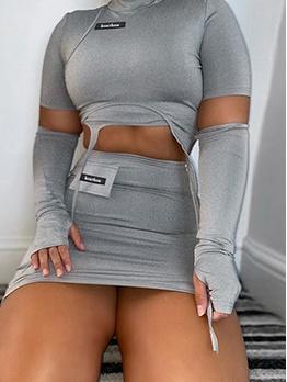Chic Mock Neck Cropped 2 Piece Skirt Set