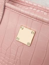 Alligator Pattern Pure Color Zipper Shoulder Bags