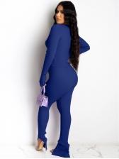 Solid Long Sleeve Split Hem Pants Two Piece Sets