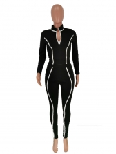 Contrast Color Stand Collar Workout Clothes For Women