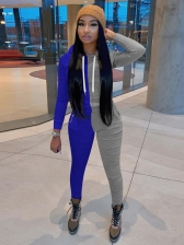 Casual Contrast Color Long Sleeve Hooded 2 Piece Sets