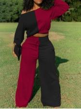 Contrast Color High Waist Wide Leg Pants 2 Piece Sets