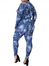 Printed Bodysuit Long Sleeve Two Piece Pants Set