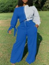 Contrast Color Drawstring Top Wide-Legged Pants Set