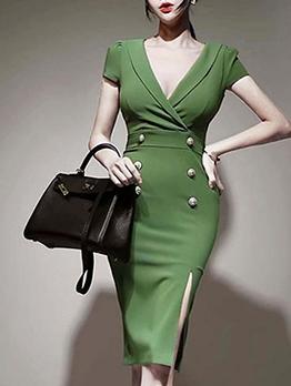 Double-Breasted V Neck Short Sleeve Bodycon Dress