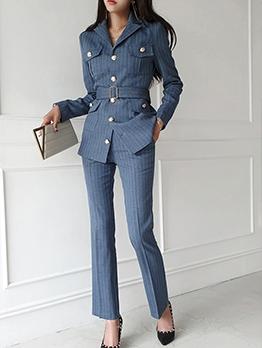 Pockets Striped Blue High Waist Women Suit For Work