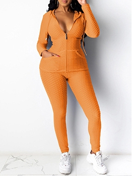 Hooded Zipper Up Solid Womens Tracksuit Set