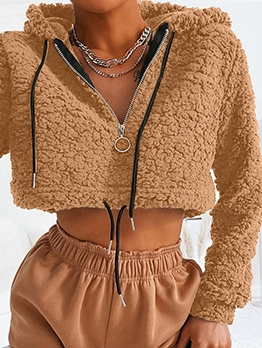 Fall Plush Crop Long Sleeve Hoodie