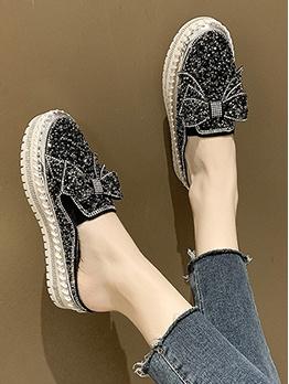 Closed Round Toe Rhinestone Decor Increasing Shoes