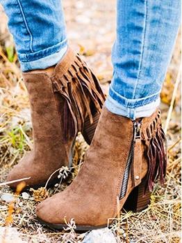 Euro Tassels Solid Zipper Womens Boots