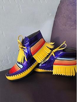 Fashion Contrast Color Tassels Elevator Shoes