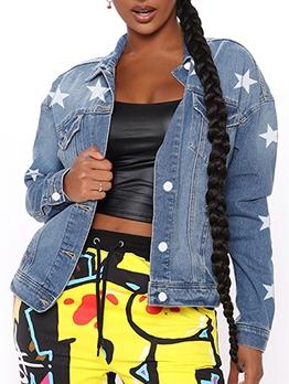 Trendy Star Long Sleeve Denim Jacket