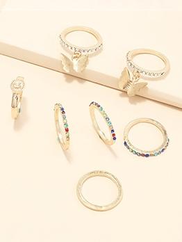 Fashion Simple Rhinestone Butterfly Ring Set