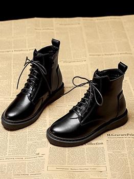 Glossy Black Bandage Combat Boot