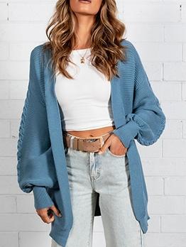 Pockets V Neck Long Sleeve Women Knitted Cardigan
