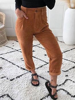 Hot Sale Buttons Up Corduroy High Waist Women Pants