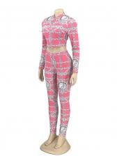 Skinny Printed Bra Outwear Three Piece Sets