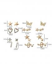 Fashion Cute Sweet Rhinestone Heart Earrings Set