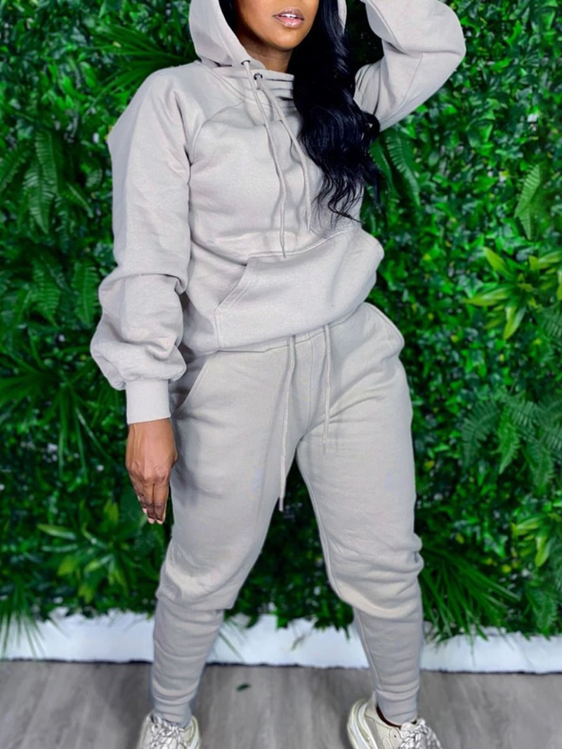 Casual Solid Hooded Plus Size Workout Clothes