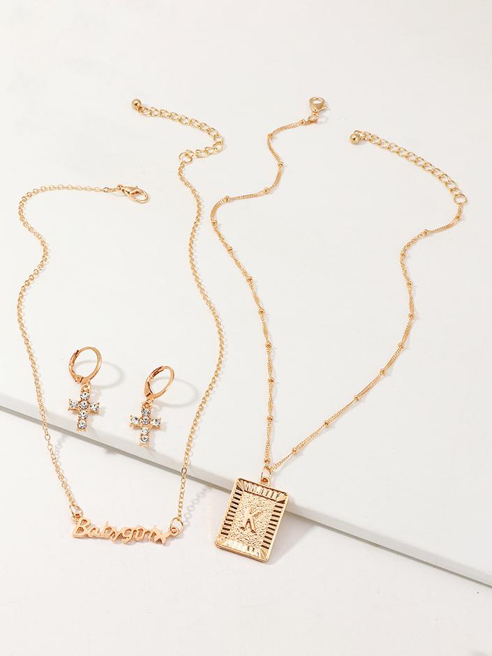 Creative Rhinestone Cross Earrings Letter Necklace Sets
