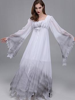 Halloween Long Sleeve Maxi Dress Ghost Bride Cosplay Costume