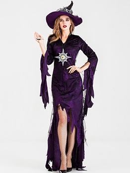 Irregular Long Sleeve Cosplay Halloween Witch Costume