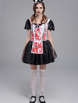 Halloween Short Sleeve Bloody Maid Costume