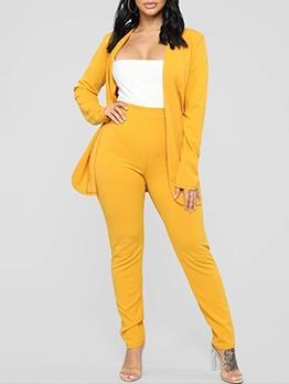 Solid Color Long Sleeve Trouser Suit Women