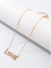 Simple Letter Rhinestone Easy Matching Necklace