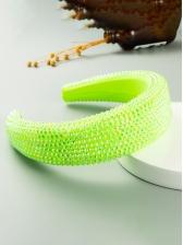 Fashion Rhinestone Sponge Solid Hair Hoop