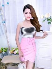 Sexy Strapless Bow Sleeveless Bodycon Dress