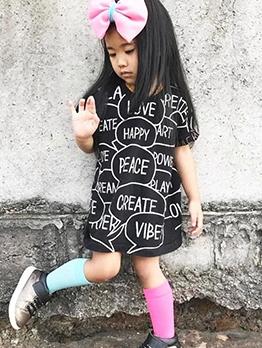 Cute Short Sleeve Print Crew Neck T Shirt