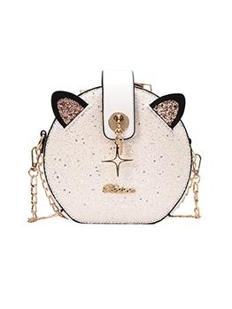 Cute Sequin Decor Round Chain Shoulder Bag