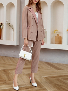 Temperament Striped Professional Blazer Suits