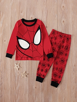 Boys Spider Man Cartoon Print Two Piece Sets