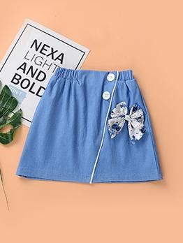 Fashion Girls Blue Bow Skirt