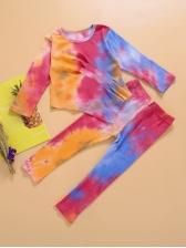Tie Dye Crew Neck Two Piece Sets