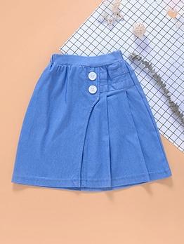 Cute Solid Ruffled Skirt For Girls