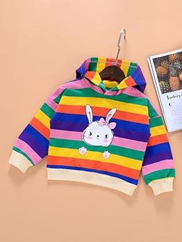 Hot Rainbow Striped Cartoon Rabbit Hoodie