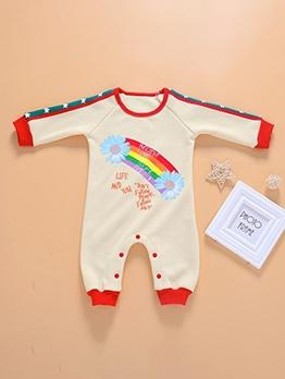 Patchwork Rainbow Print Newborn Sleepsuits