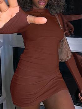 Fashion Solid Long Sleeve Bodycon Dress