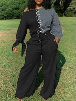 Plus Size Colorblock Women Two Piece Trouser Sets