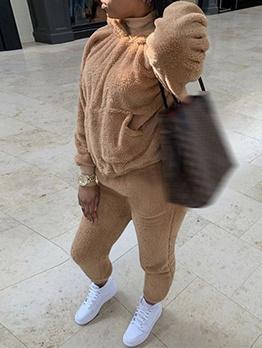 Solid Color Hoodie Fleece Winter Two Piece Sets