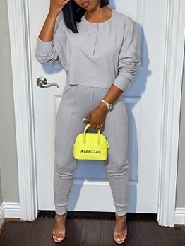 Button Solid Long Sleeve Two Piece Pants Set