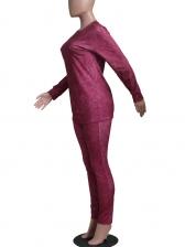 Pure Color Casual Two Piece Pants Set