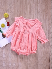 Cute Solid Ruffled Baby Girl Rompers