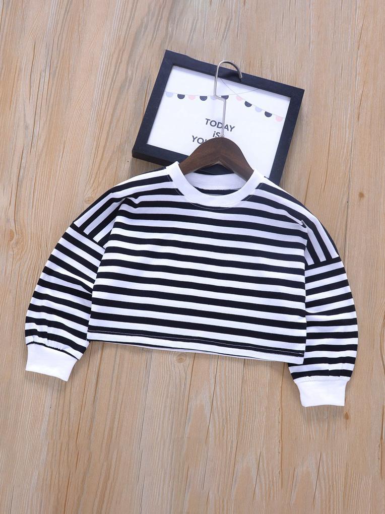Popular Hot Striped Crew Neck Hoodie