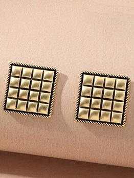 Simple Vintage Square Shape Metal Earrings
