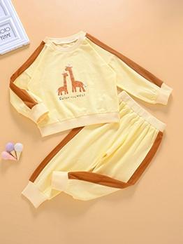 Fashion Contrast Color Long Sleeve Kids Set