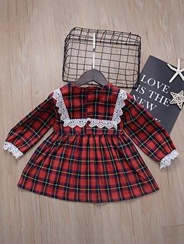 Cute Plaid Patchwork Girls Casual Dresses